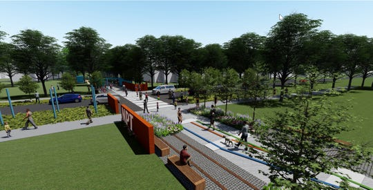 Nickel Plate Trail rendering of 126th Street crossing in Fishers.