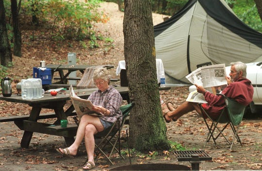 Irene and Cal Couch of Fort Wayne, Ind., have been coming to the Indiana Dunes State Park to camp for years.