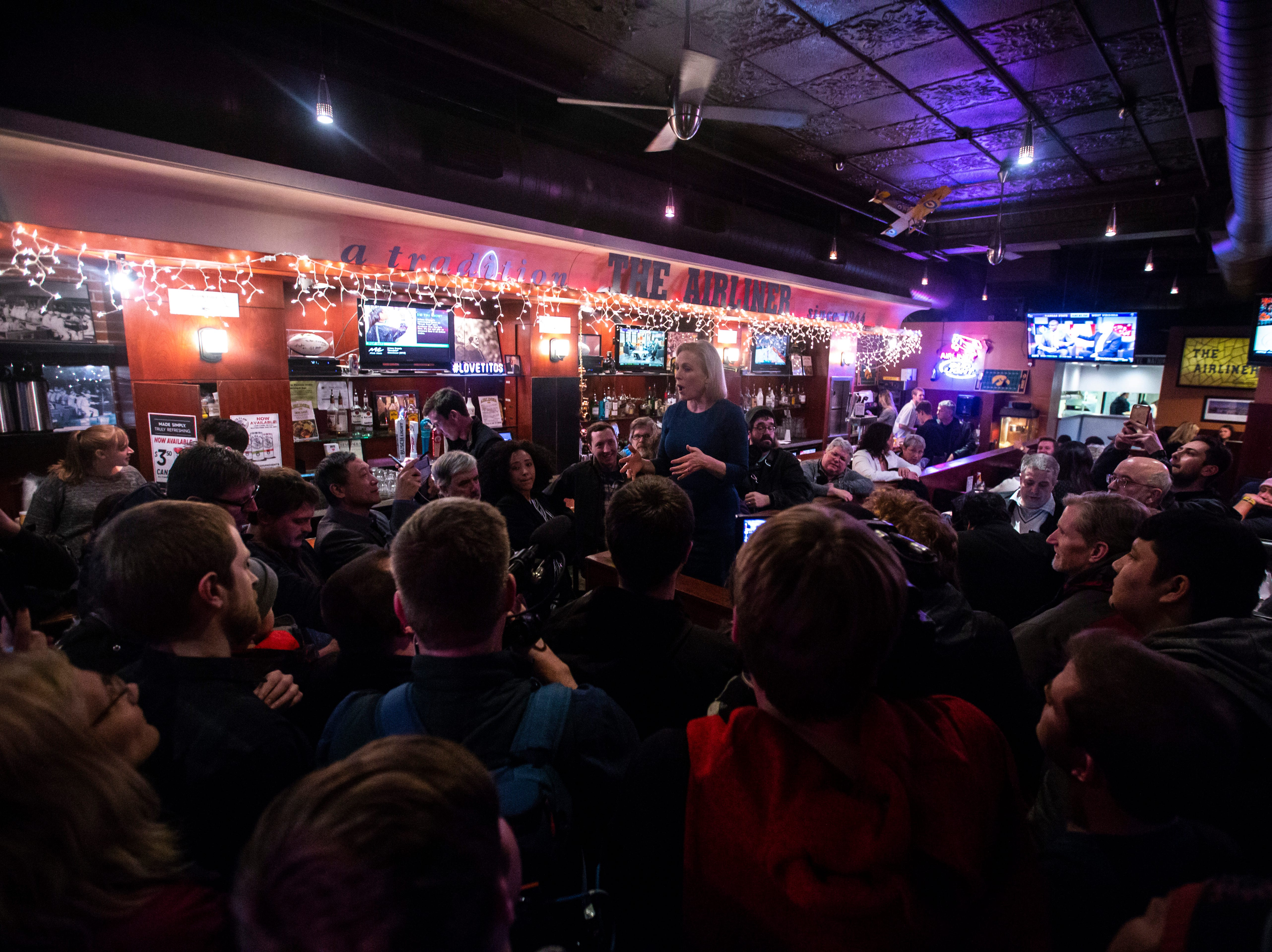U.S. Sen. Kirsten Gillibrand, D-NY, speaks to the overflow crowd during a campaign event on Monday, Feb. 18, 2019 at The Airliner in Iowa City, Iowa.
