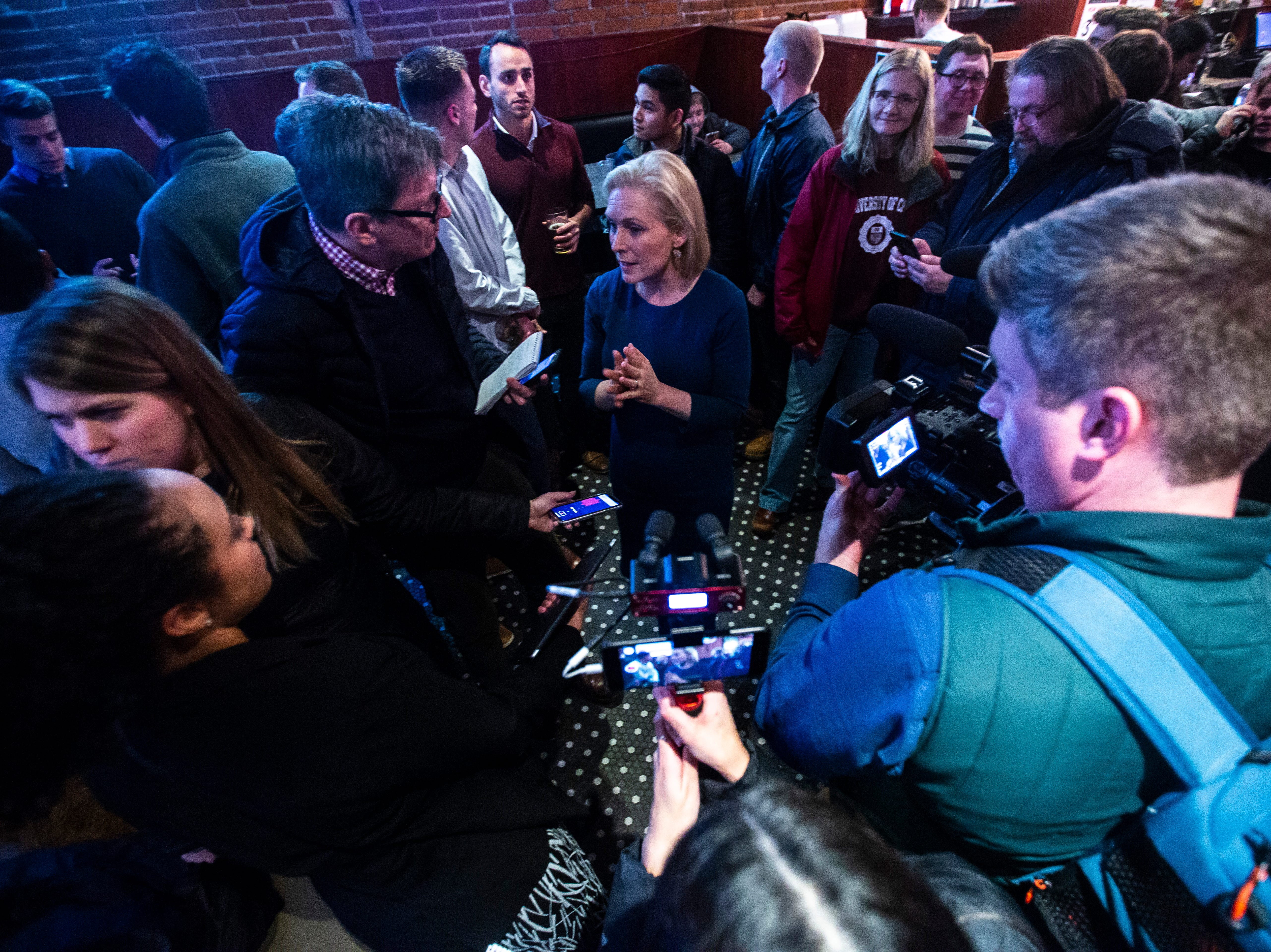 U.S. Sen. Kirsten Gillibrand, D-NY, talks with reporters during a campaign event on Monday, Feb. 18, 2019 at The Airliner in Iowa City, Iowa.