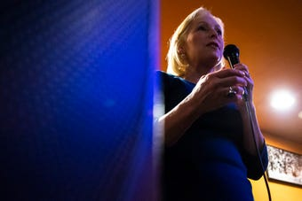 Hear remarks U.S. Sen. Kirsten Gillibrand gave about why she's for running against Donald Trump, at a campaign event in Iowa City, Feb. 18, 2019.