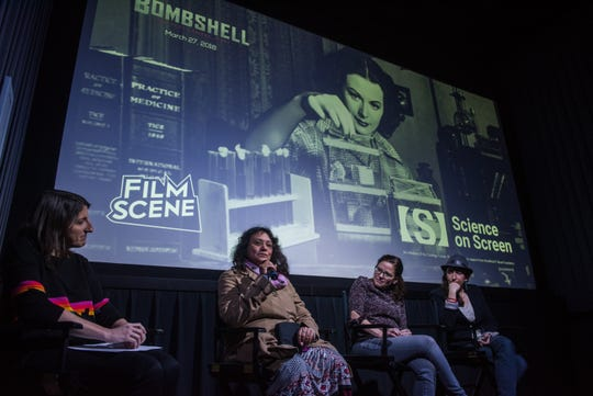 "At the 2018 Women's March, Science on Screen presented ""Bombshell, the Hedy LeMar Story ""along with a discussion with women in science at FilmScene. From left to right, Rebecca Fons, Ananya Sen Gupta, PhD, of the University of Iowa, Sarah Vigmostad, PhD, of UI and and Michal Eyon-Lynch of Pear Deck."