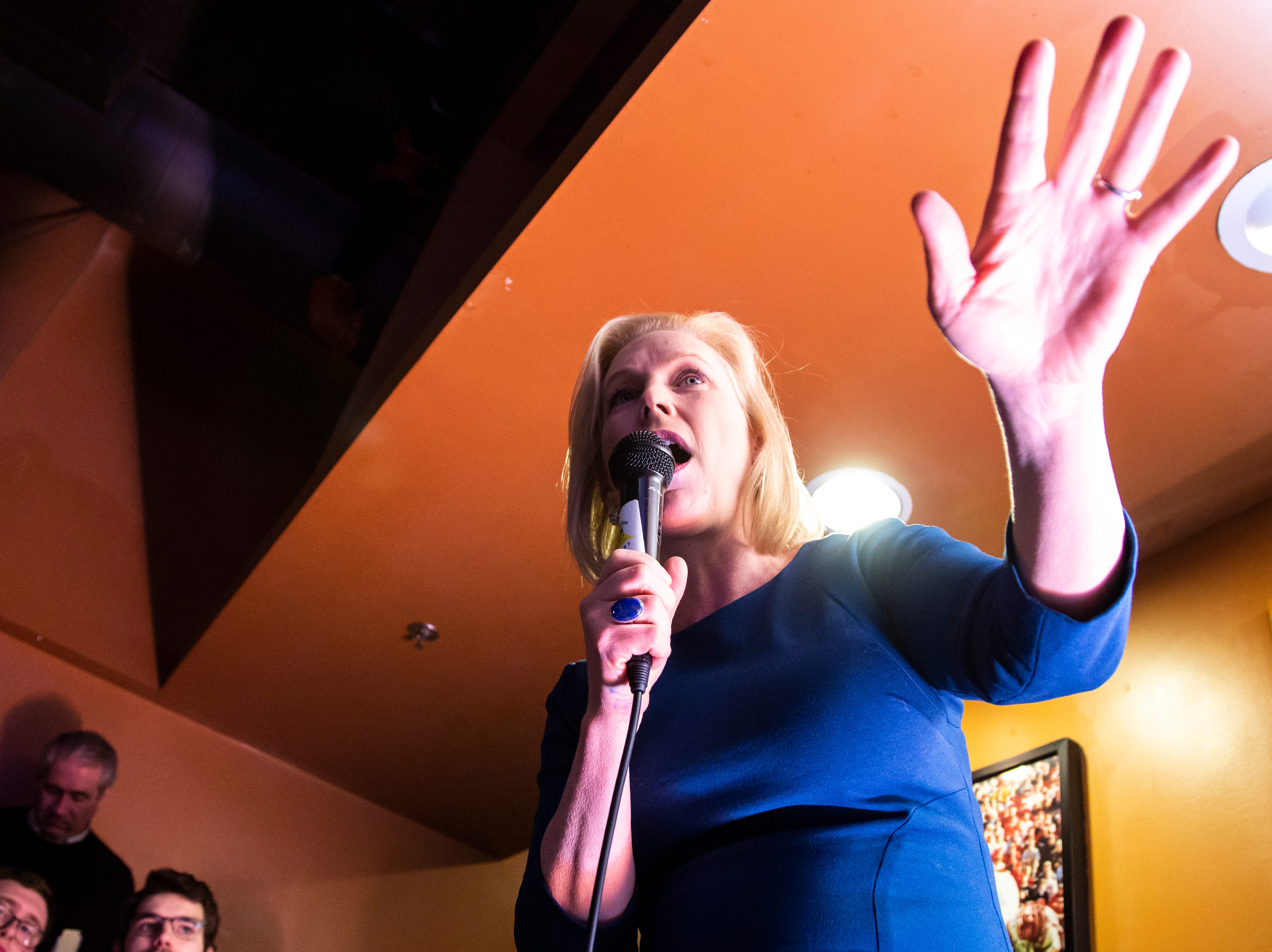 U.S. Sen. Kirsten Gillibrand, D-NY, speaks during a campaign event on Monday, Feb. 18, 2019 at The Airliner in Iowa City, Iowa.