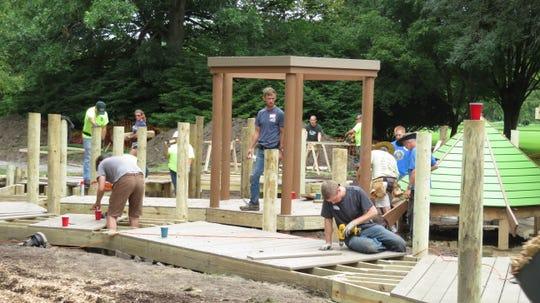 Residents volunteering at Stewart Park in September.