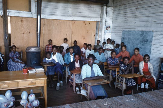 Students sit for chapel inside the all-black Goodman school in Holmes County in Mississippi in 1955.