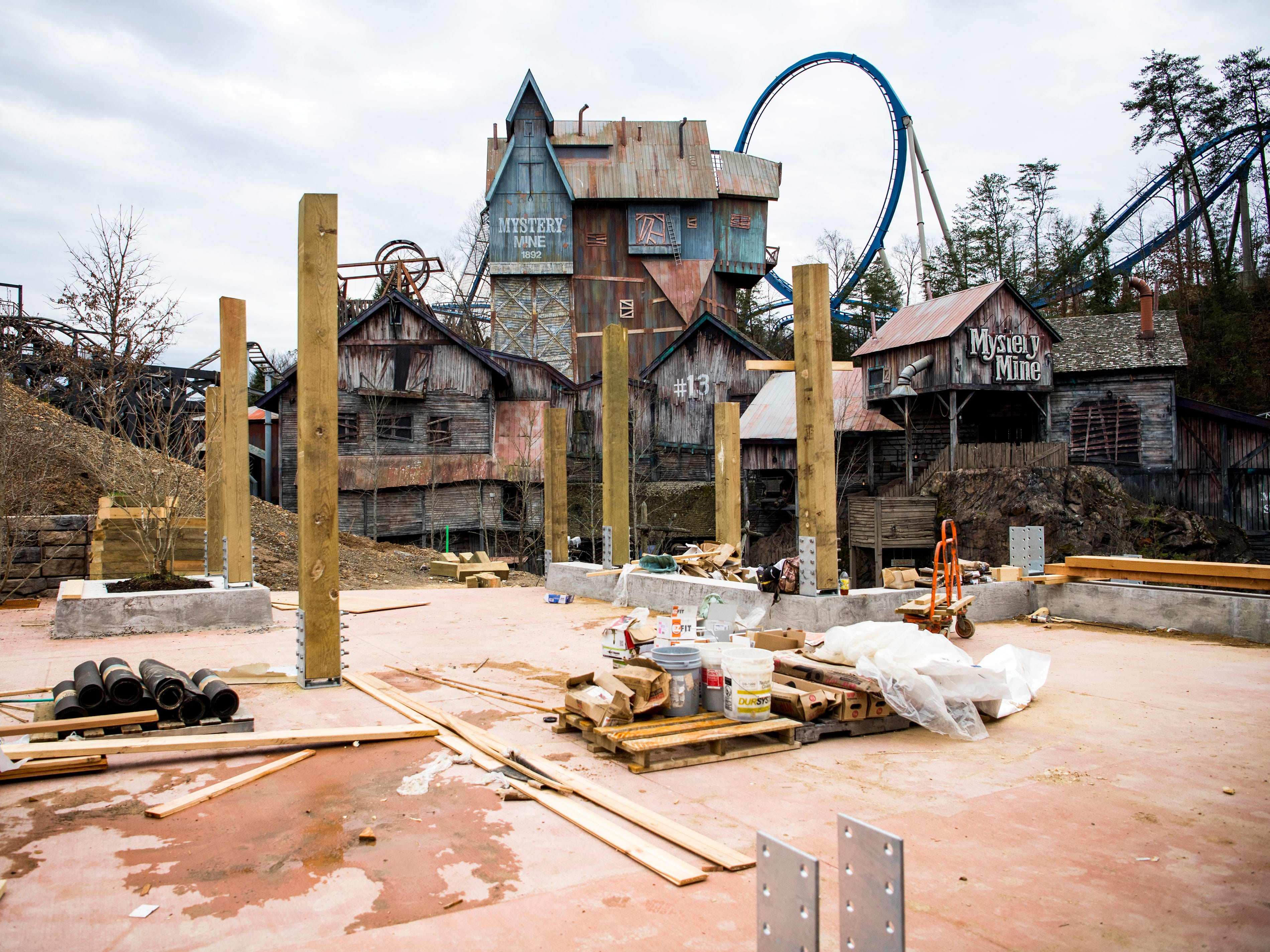 A dining porch area in Dollywood's new Wildwood Grove area of the park on Tuesday, February 19, 2019.
