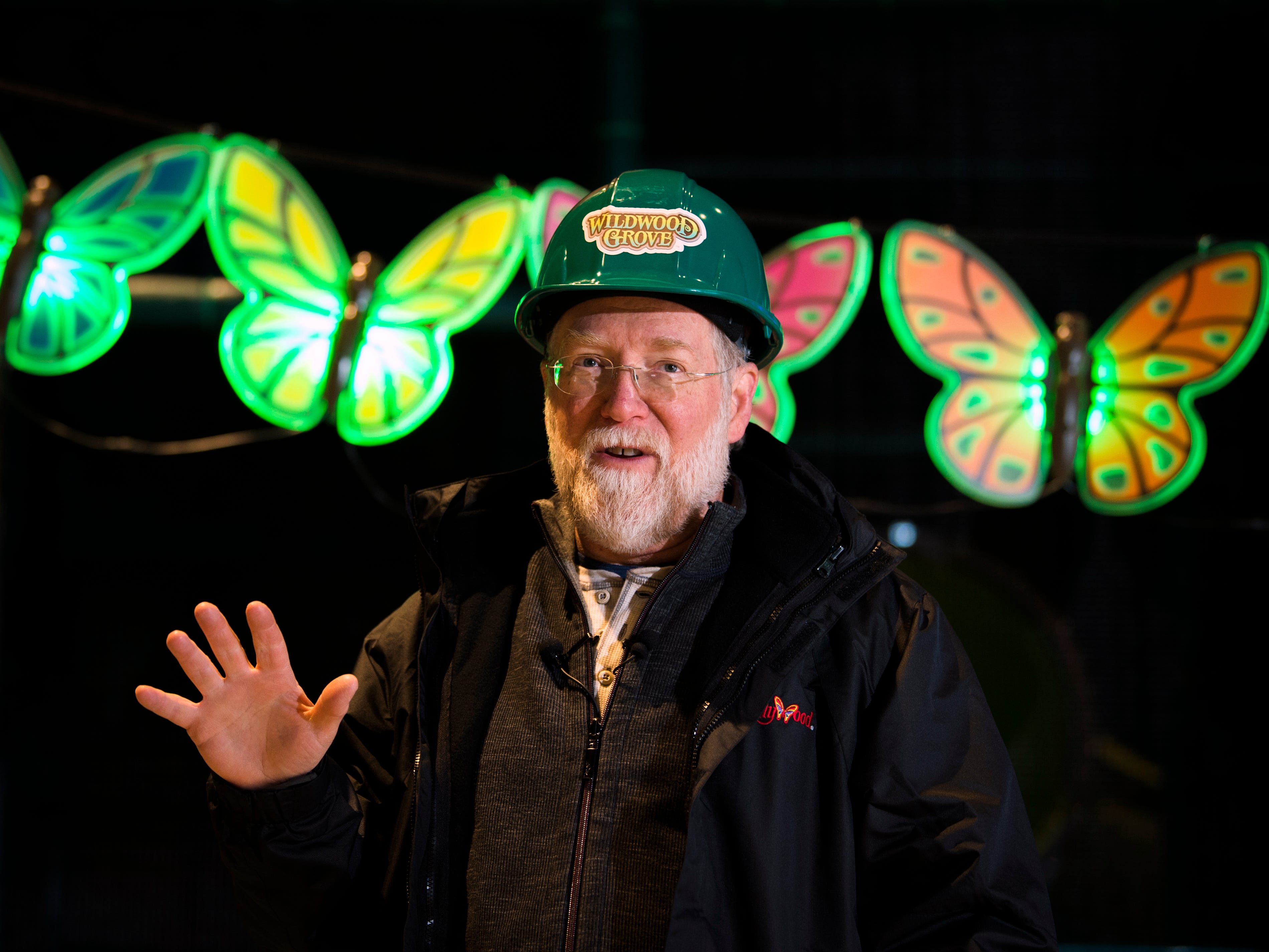 Patrick Brennan, art director for Dollywood's new Wildwood Grove area, speaks in front of the lighted butterflies that will decorate the Wildwood Tree during a construction site tour on Tuesday, February 19, 2019.