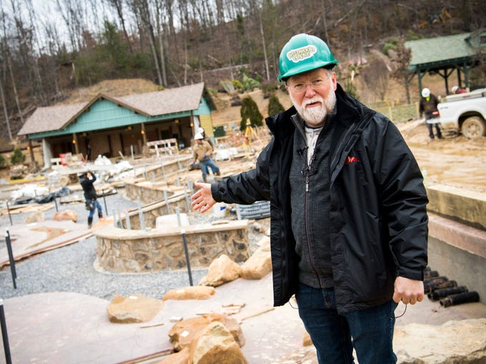 Patrick Brennan, art director for Dollywood's new Wildwood Grove area, points out features in the Wildwood Creek area during a construction site tour on Tuesday, February 19, 2019.