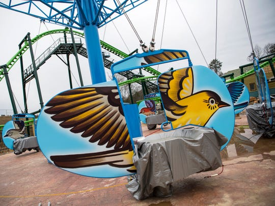 The Mad Mockingbird ride in Dollywood's new Wildwood Grove area of the park on Tuesday, February 19, 2019.