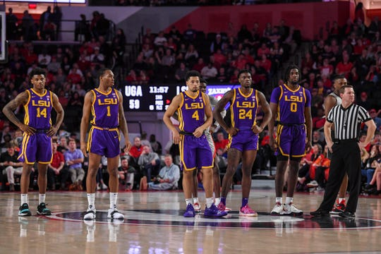Feb 16, 2019; Athens, GA, USA; LSU Tigers players watch as a foul shot is taken against them after a technical foul during the second half against the Georgia Bulldogs at Stegeman Coliseum. Mandatory Credit: Dale Zanine-USA TODAY Sports