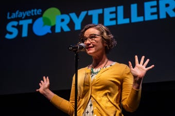 """April Courville tells her story about finding love, knowing when to let love go, and finding yourself in the process at the Lafayette Storytellers Project """"Romance ... or not"""" event on Monday, February 18, 2019."""