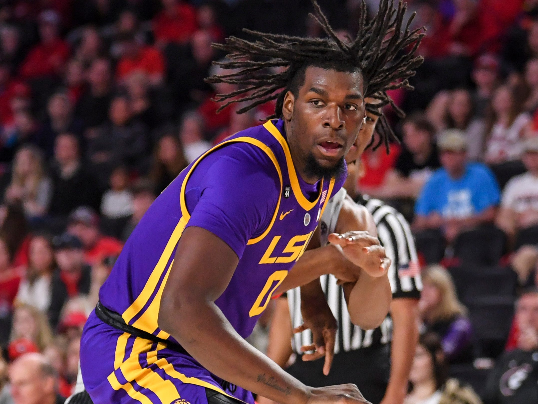 Feb 16, 2019; Athens, GA, USA; LSU Tigers forward Naz Reid (0) controls the ball against the Georgia Bulldogs during the first half at Stegeman Coliseum. Mandatory Credit: Dale Zanine-USA TODAY Sports