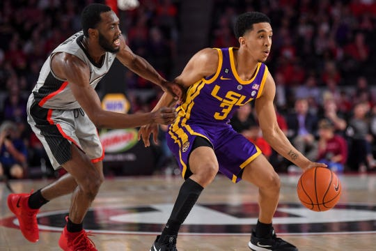 Feb 16, 2019; Athens, GA, USA; LSU Tigers guard Tremont Waters (3) dribbles against Georgia Bulldogs guard William Jackson II (0) during the first half at Stegeman Coliseum. Mandatory Credit: Dale Zanine-USA TODAY Sports