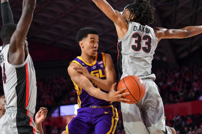 Feb 16, 2019; Athens, GA, USA; LSU Tigers guard Tremont Waters (3) throws a pass against Georgia Bulldogs forward Nicolas Claxton (33) during the first half at Stegeman Coliseum. Mandatory Credit: Dale Zanine-USA TODAY Sports