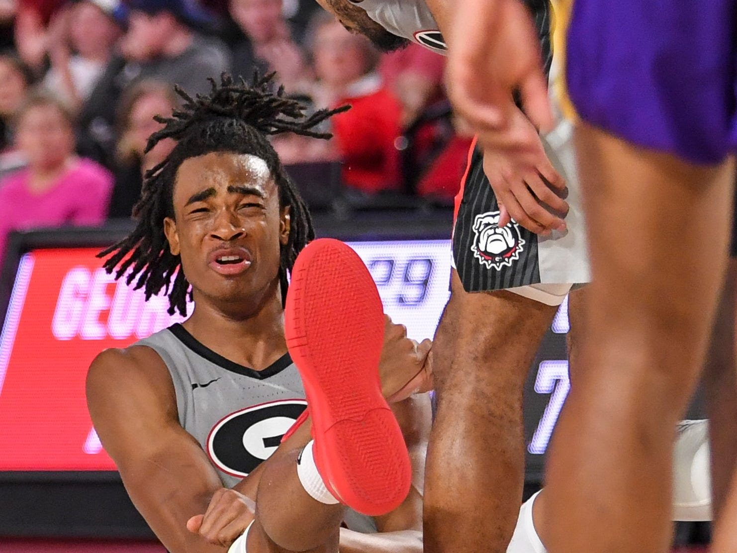 Feb 16, 2019; Athens, GA, USA; Georgia Bulldogs forward Nicolas Claxton (33) reacts after scoring and drawing a foul against the LSU Tigers during the second half at Stegeman Coliseum. Mandatory Credit: Dale Zanine-USA TODAY Sports