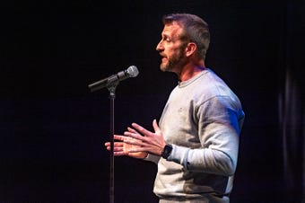 """Mick Essex tells his story about the adventures of online dating at the Lafayette Storytellers Project """"Romance ... or not"""" event on Monday, February 18, 2019."""