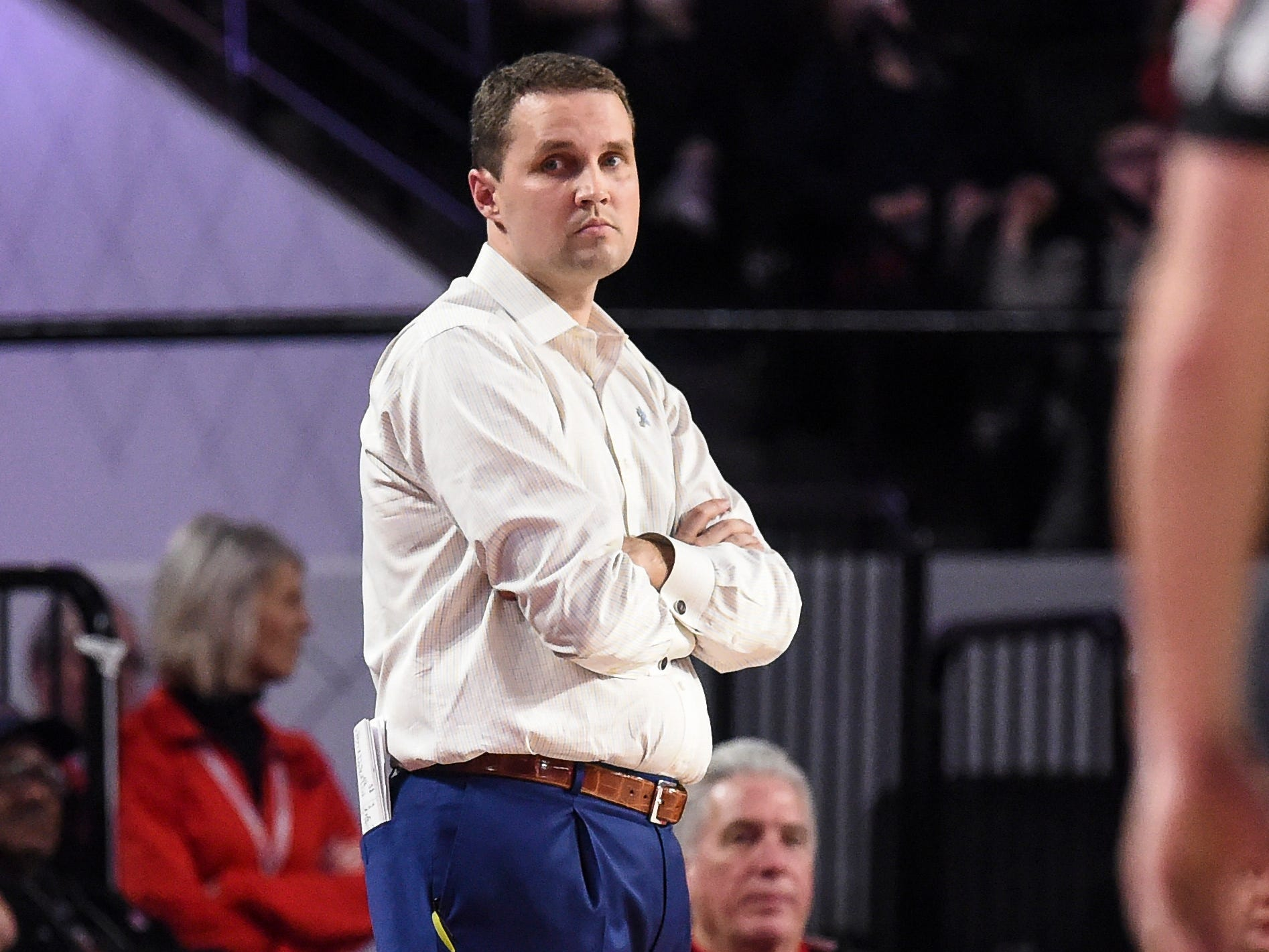 Feb 16, 2019; Athens, GA, USA; LSU Tigers head coach Will Wade looks on from the sideline during the second half against the Georgia Bulldogs at Stegeman Coliseum. Mandatory Credit: Dale Zanine-USA TODAY Sports