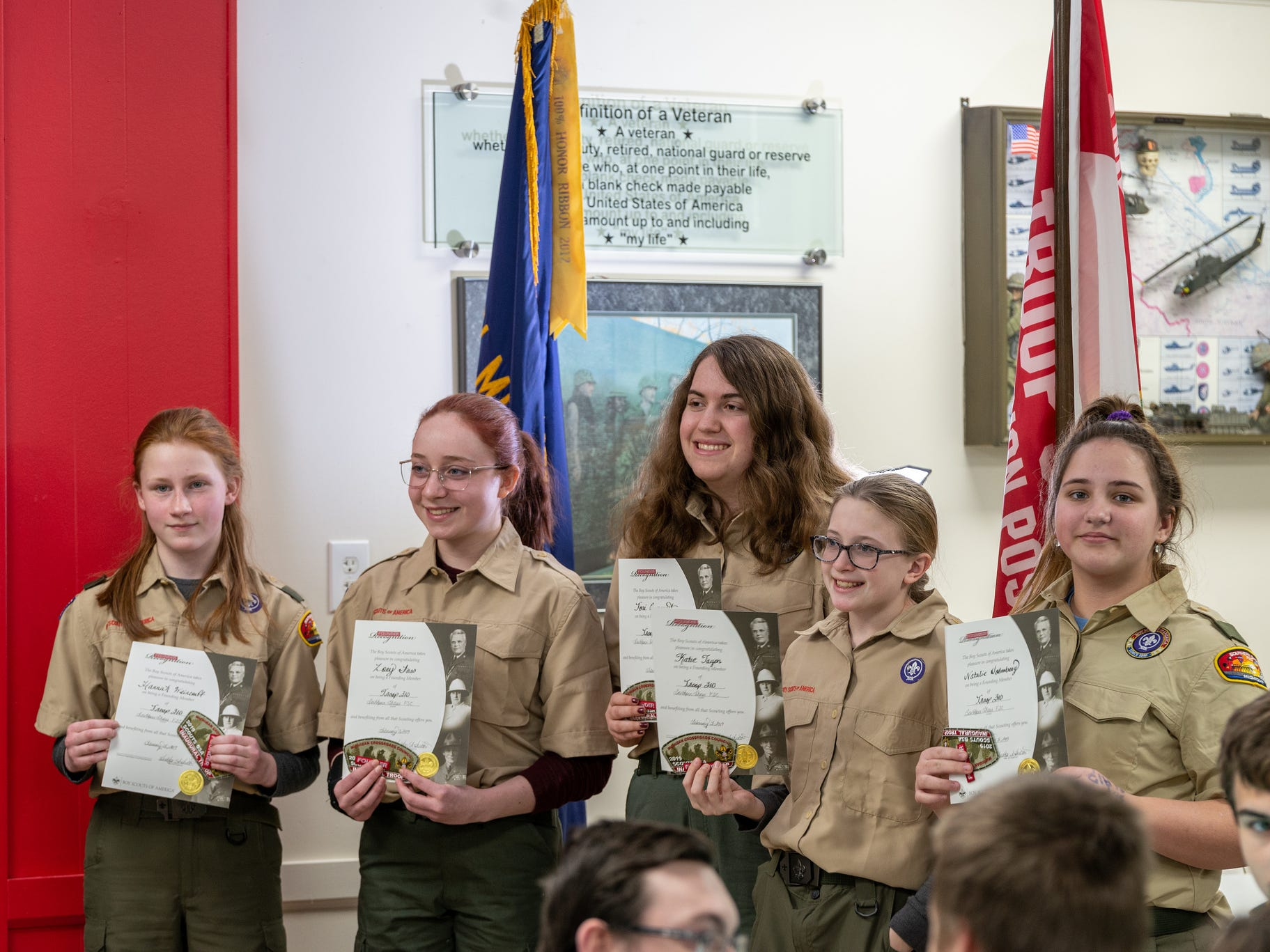 HannaH Weincoff, Zoey Foss, Victoria Conquest, Katie Tayon and Natalie Holmberg (left to right) joined Scouts BSA Monday night in Pinckney.