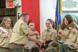 In a crowded Pinckney American Legion hall five girls joined Scouts BSA.