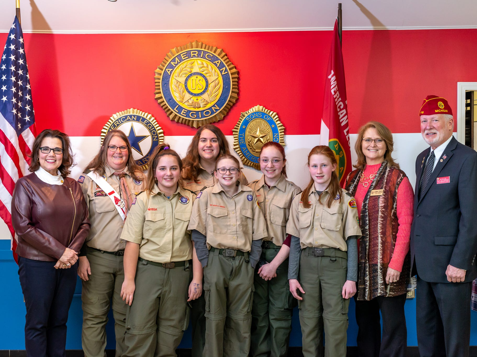 Newly-founded Troop 310 with state Rep. Ann Bollin (left), Sen. Lana Theis (right), and American Legion Representative James Wallace. The troop had its first meeting Monday, Feb. 18, 2019.