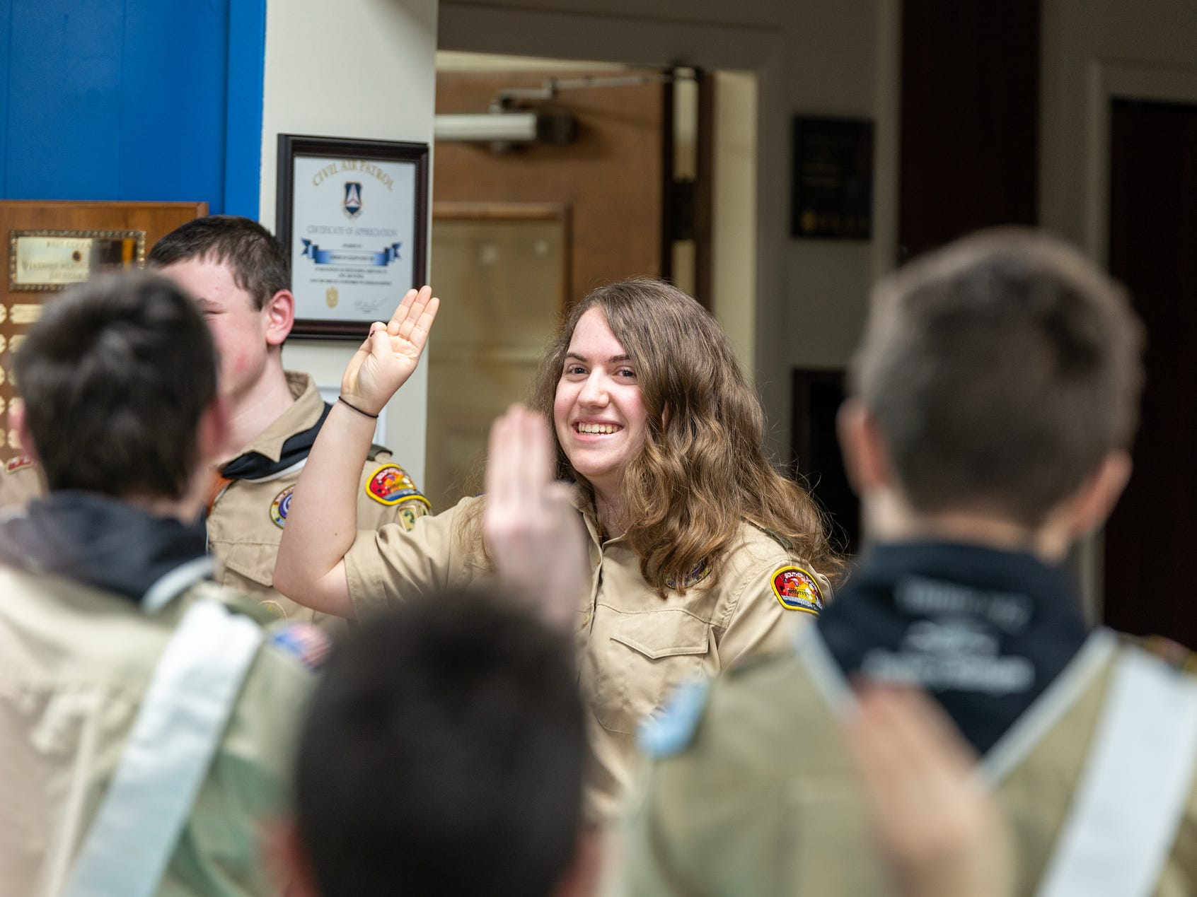 Victoria Conquest, 17, leads the troops in reciting the Scout's Oath Monday, Feb. 18, 2019.