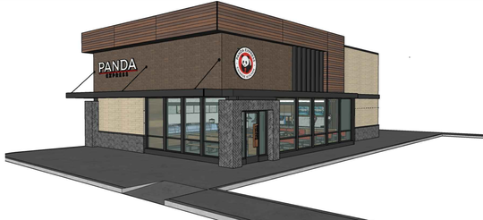 A rendering shows what a proposed Panda Express restaurant and drive-thru would look like. Pending final approvals from Hartland Township officials, it would be built off M-59 near the new Emagine Hartland movie theater.