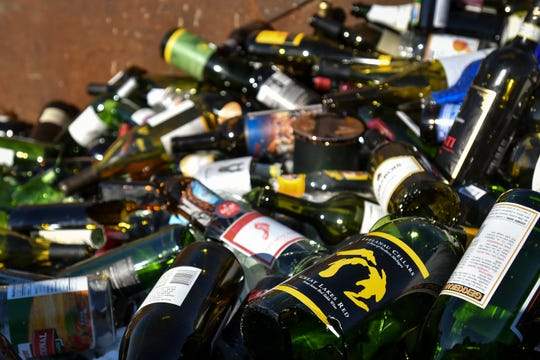 An assortment of glass stored at a Granger Recycling Center in Lansing on Tuesday, Feb. 19, 2019.
