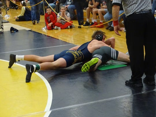 River Valley's Cooper Graham wrestles during a tournament at Watkins Memorial earlier this season. The Vikings will compete in the Division II sectionals this weekend.