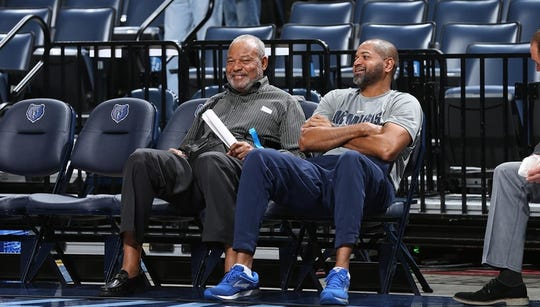Bernie and J.B. Bickerstaff chat prior to a game between the Golden State Warriors and the Memphis Grizzlies on October 21, 2017 at FedExForum in Memphis, TN.
