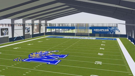 An artist's rendering of the indoor practice football facility which is scheduled to begin construction at Memphis after Phase I of the project is finished in April