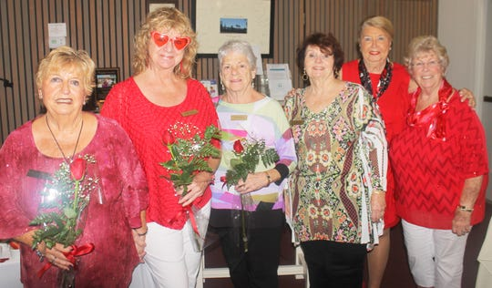 Birthday girls Pat Warrener, Cindy Crane and Joyce Kaelin.  Member co-chairs Trisha Pease and Patty Larkin with president Rachel DeHanas look on.