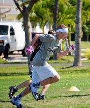 James Olsen running his route.