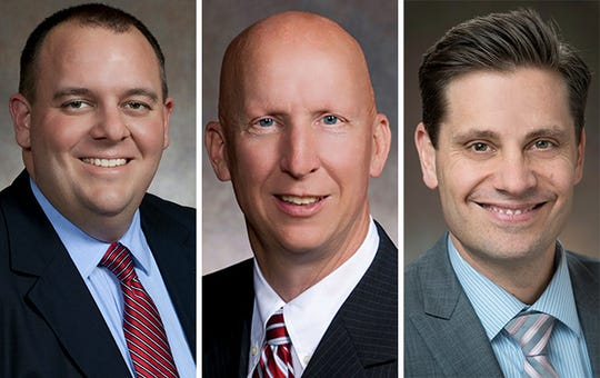 GOP Sens. Dave Craig of Big Bend (left) and Duey Stroebel of Cedarburg (center) and Chris Kapenga of Delafield.