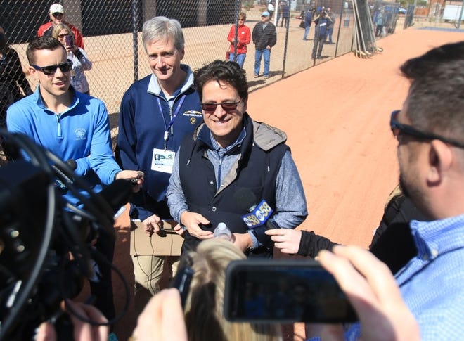 Brewers principal owner Mark Attanasio addresses the media Tuesday during his first visit to the team's renovated spring training facility.