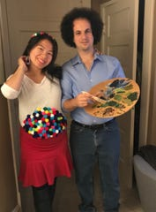 Jonathan Brostoff dressed as Bob Ross, the bushy-haired artist from public television and later the internet, for Halloween in 2018 while his wife, Diana, pregnant with their first child at the time, dressed as a gumball machine.