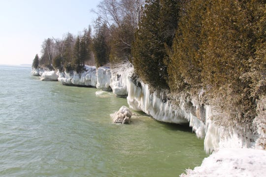 Cave Point County Park takes on a coat of ice in winter.