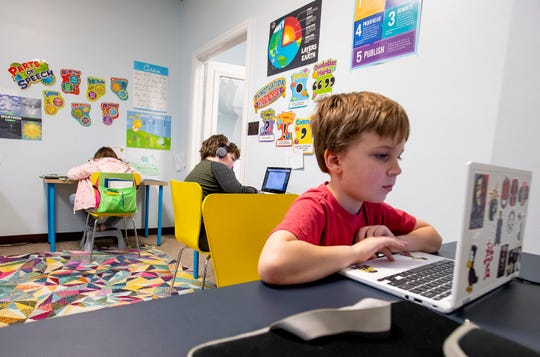 Brock does his math lesson at The New School in Montgomery, Ala., on Tuesday February 19, 2019.