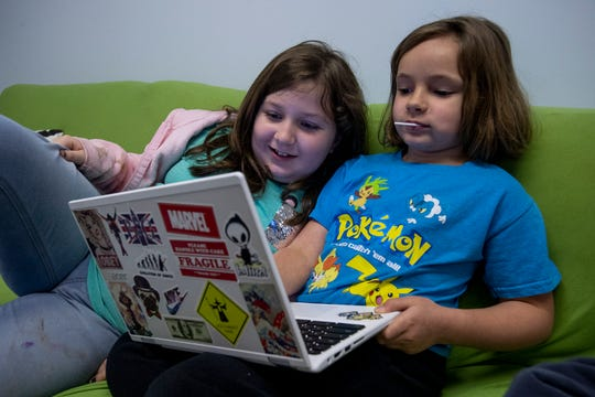 Callie, left, and Lily during free time at The New School in Montgomery, Ala., on Tuesday February 19, 2019.