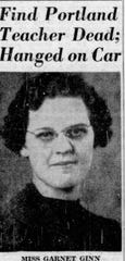Front page story in The Muncie Star on March 1, 1950, a day after Portland teacher Garnet Ginn's body was found in her garage.