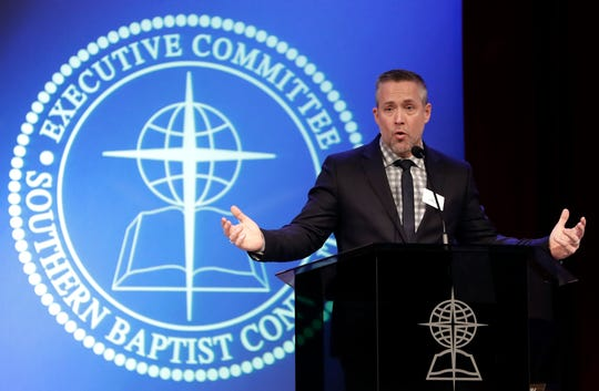 Southern Baptist Convention President J.D. Greear speaks to the denomination's executive committee Monday, Feb. 18, 2019, in Nashville, Tenn. Just days after a newspaper investigation revealed hundreds of sexual abuse cases by Southern Baptist ministers and lay leaders over the past two decades, Greear spoke about plans to address the problem. (AP Photo/Mark Humphrey)