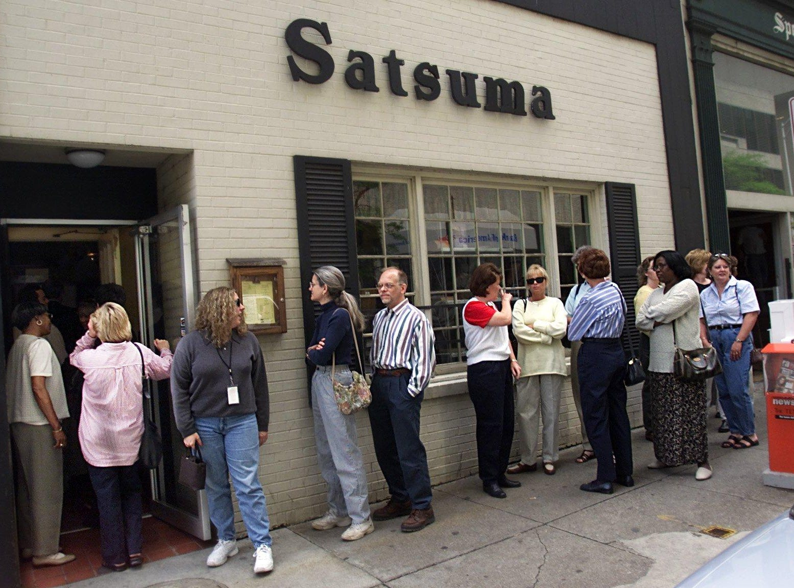 .A long line goes out the door as customers waits to get lunch at the Satsuma Tea Room downtown on it's last day of business as it closed the door on one of Nashville's oldest restaurant April 13, 2001.