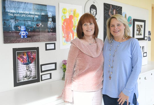 Former BGA art teacher Carol Lea-Mord, left,  and her former student Tiffany Alday in the Mary Campbell Visual Arts Center on Monday, Feb. 18, 2019.   Lea-Mord retired from BGA at the beginning of the school year after 39 years of leading the school's fine arts program.