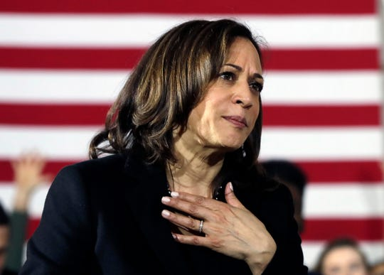 Democratic presidential candidate Sen. Kamala Harris, D-Calif., listens to a question at a campaign event in Portsmouth, N.H., Monday, Feb. 18, 2019.