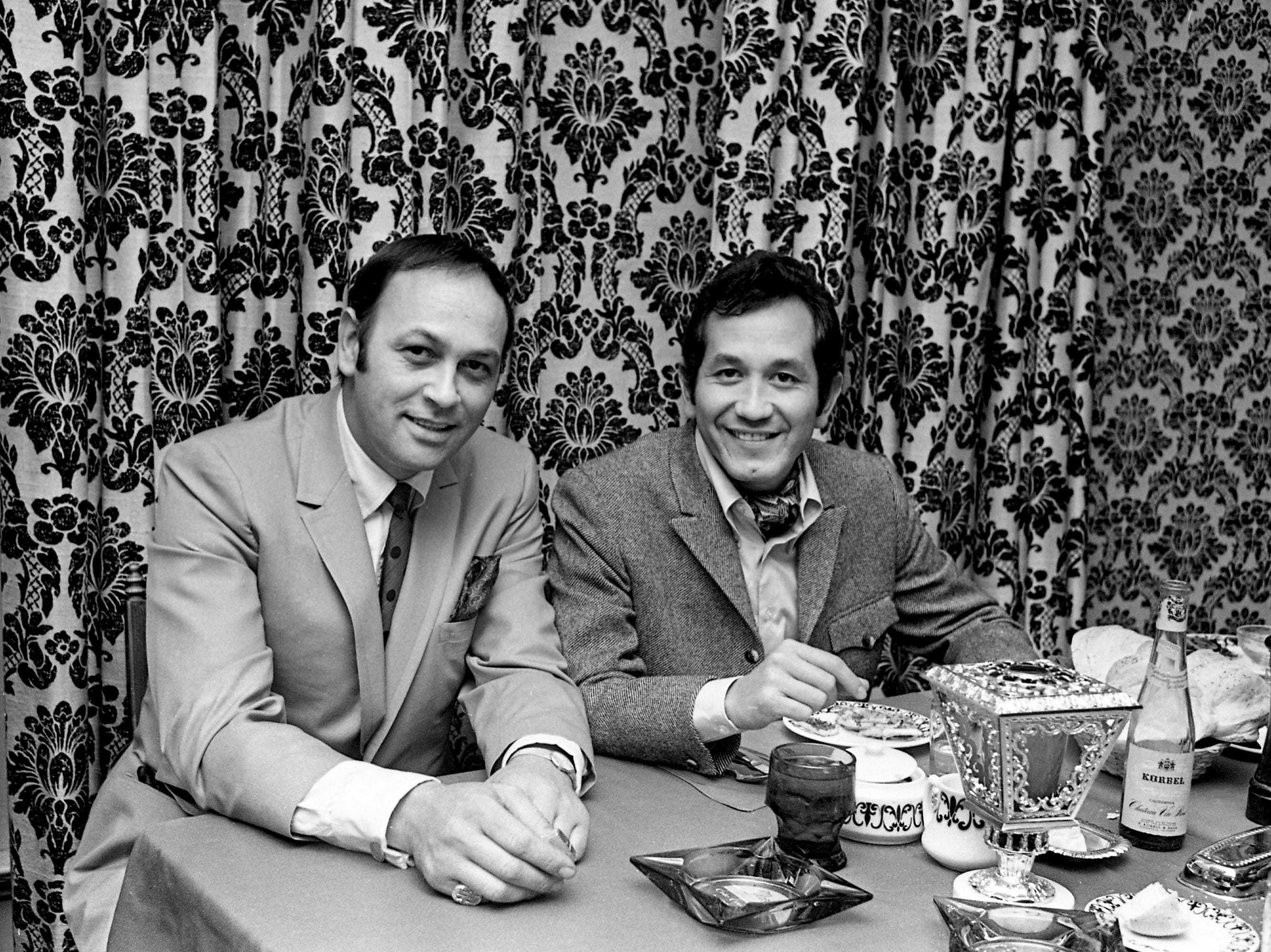 Popular singer Trini Lopez, right, visits with Mario Ferrari at Mario's Restaurant March 27, 1968. Lopez, whose variety of calypso songs made him famous, is in Nashville to record a country music album.