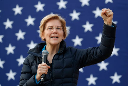 Presidential candidate Sen. Elizabeth Warren, D-Mass., speaks at an organizing event Sunday, Feb. 17, 2019, in Las Vegas.