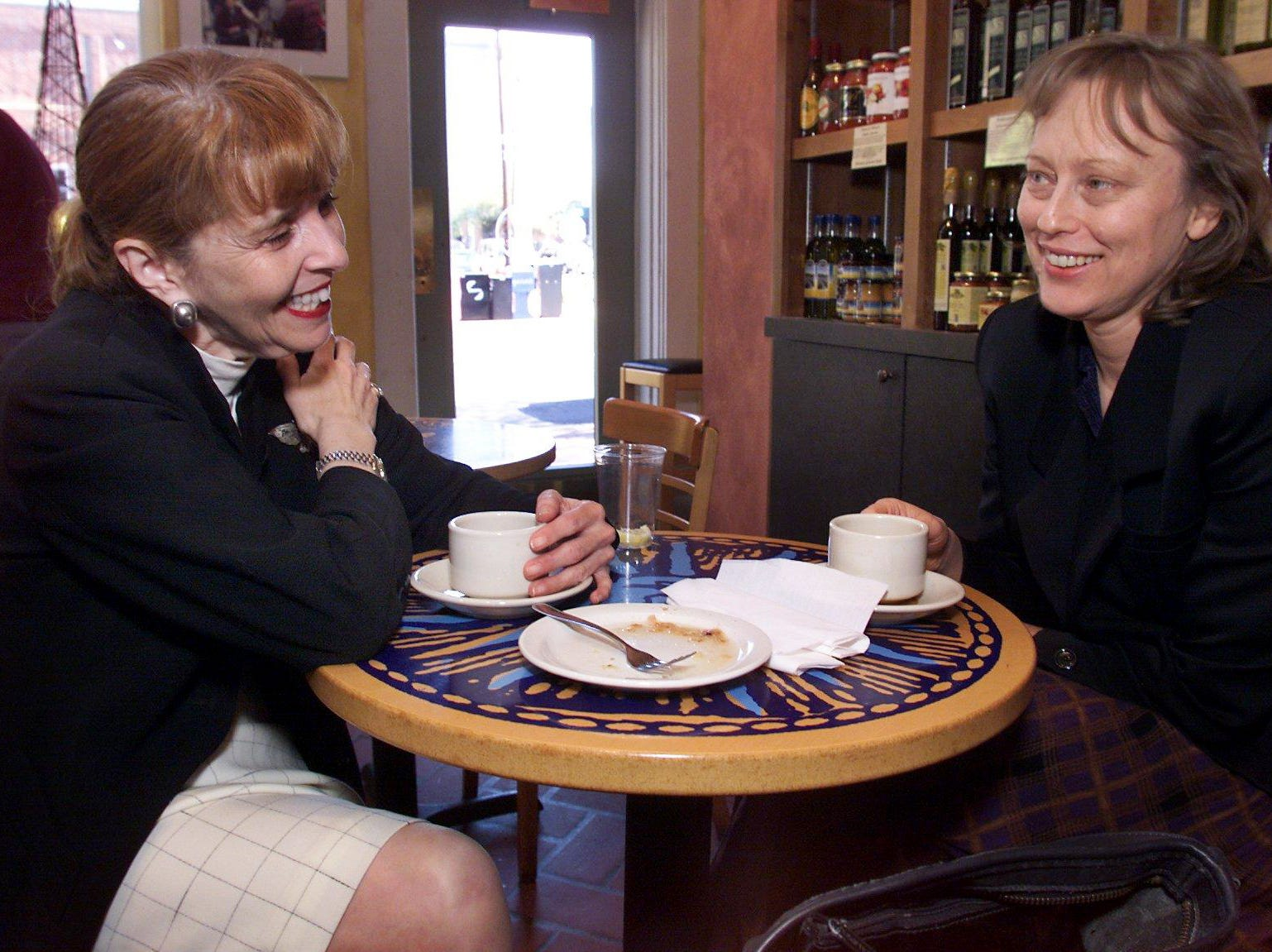 Michele Rose, left, and Marilyn McCabe enjoy coffee and food at Provence Breads and Cafe in Hillsboro Village Oct. 25, 1999.