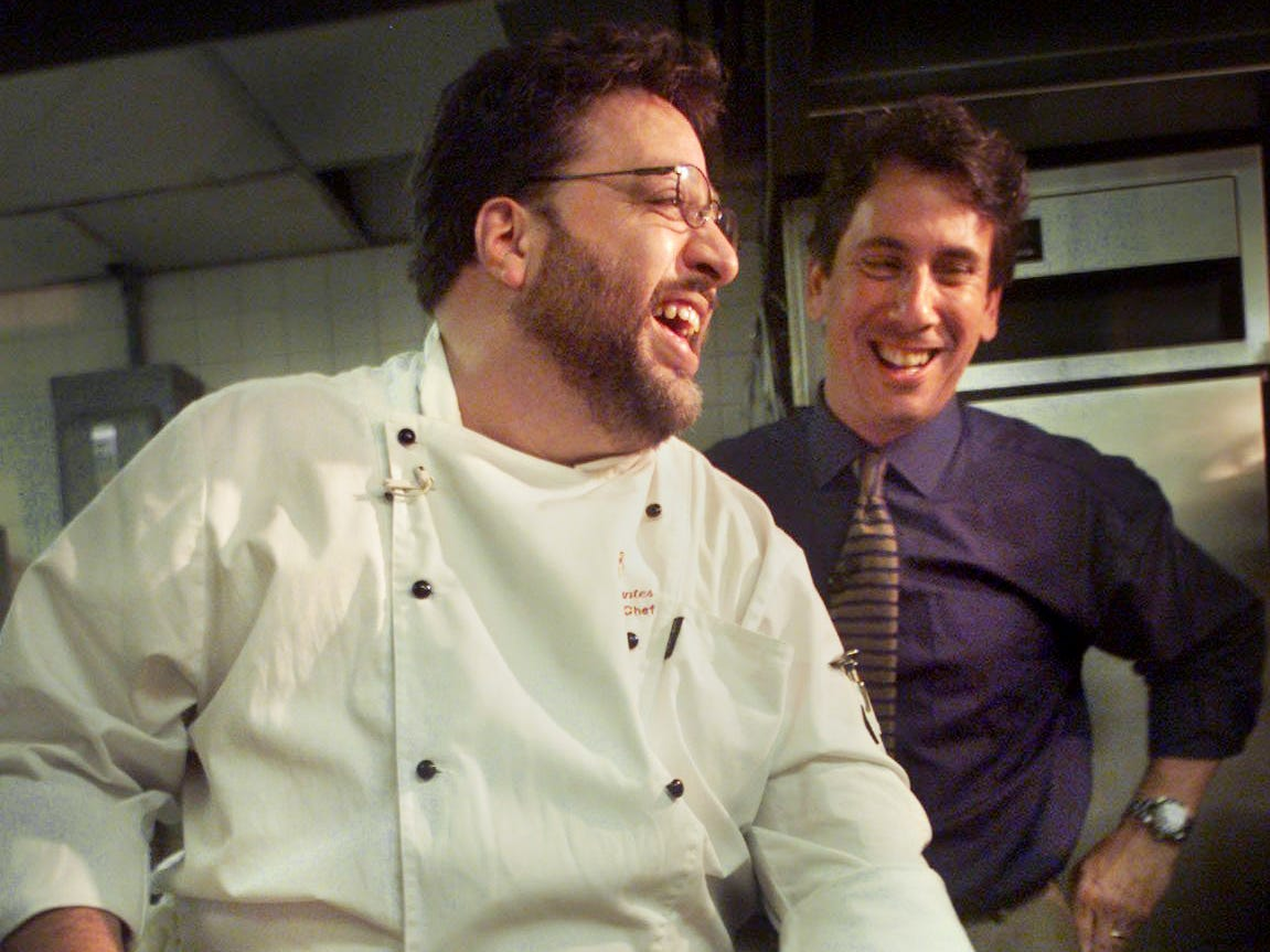 """Arthur's executive chef Julio Orantes, left, laughs with Marc Silverstein, host of """"The Best Of"""" on the food network, as they tape a show for the cable network while visiting Nashville March 18, 2002."""