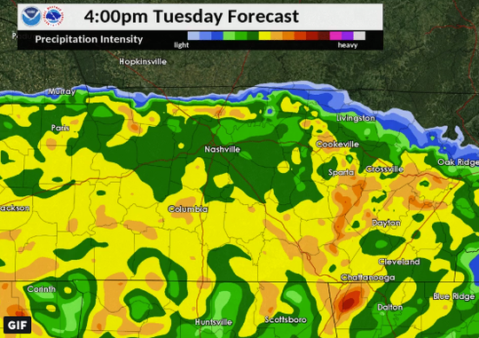 Rain expected to roll into Nashville on Tuesday Feb. 19, 2019.