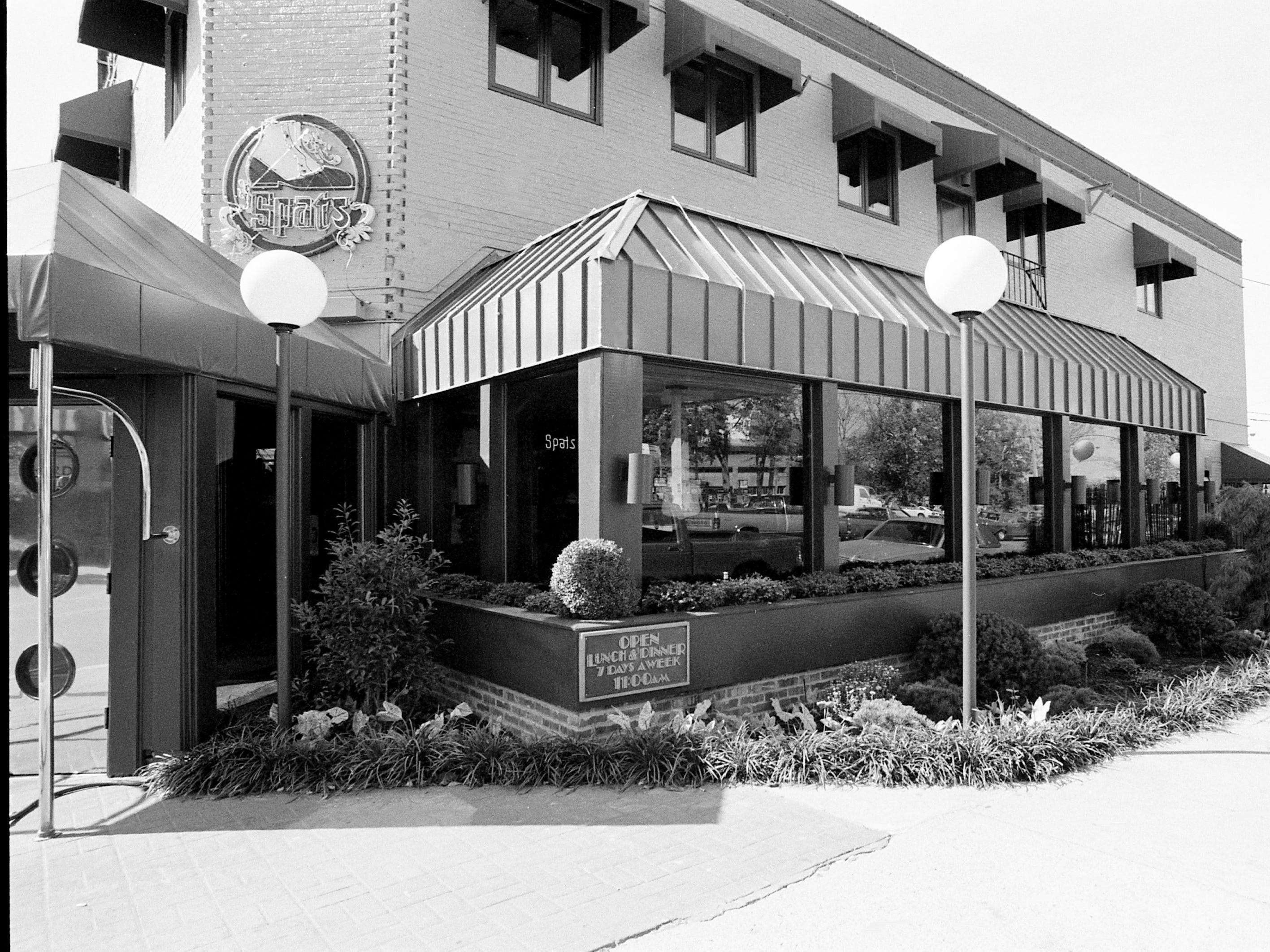 The Spats restaurant, here at 1601 21st Ave. S. Oct. 6, 1987, was established in 1973 by Howard Lippmann's Hillsboro Foods. The successful restaurant was the first place in Nashville where you could order ribs and eat them sitting down.