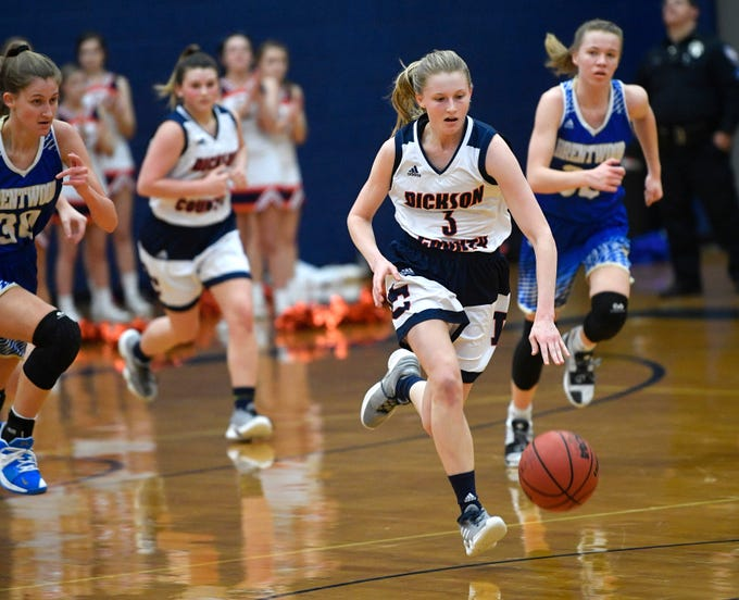 Ryann Roberts, 3, breaks away as Dickson plays Brentwood in the District 11-AAA girls basketball championship Monday, Feb. 18, 2019, in Dickson, Tenn.